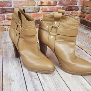 Light brown leather stack jimmy choo boots size 39
